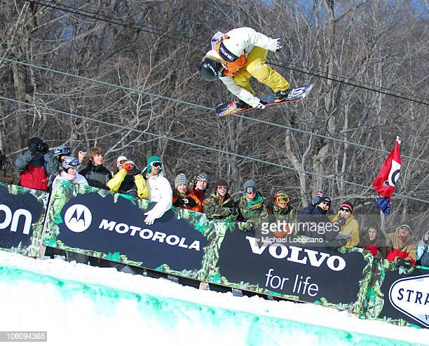 Halfpipe Finals March 18th during 24th Annual Burton US Open Snowboarding Championships at Stratton Mountain in Stratton Vermont United States