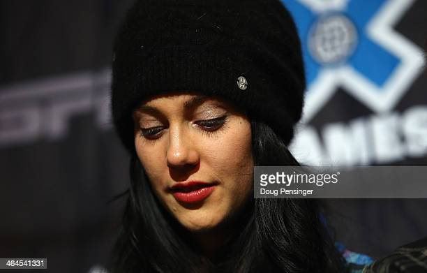 Halfpipe skier Roz Groenewoud of Canada pauses as she talks about Sarah Burke during a press conference at Winter XGames 2014 Aspen at Buttermilk...