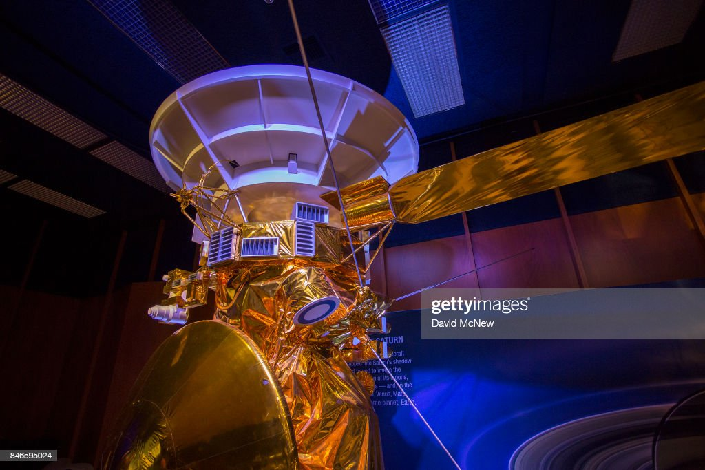 A half-scale model of NASA's Cassini spacecraft is seen during a news conference at Jet Propulsion Laboratory (JPL) as Cassini nears the end of its 20-year mission by crashing into Saturn, on September 13, 2017 in Pasadena, California. It took Cassini seven years to reach Saturn after its 1997 launch where it has been exploring the ringed planet and its many moons for the past 13 years. It will continue to transmit data and never before seen photos to Earth for as long as possible before breaking up and crashing.