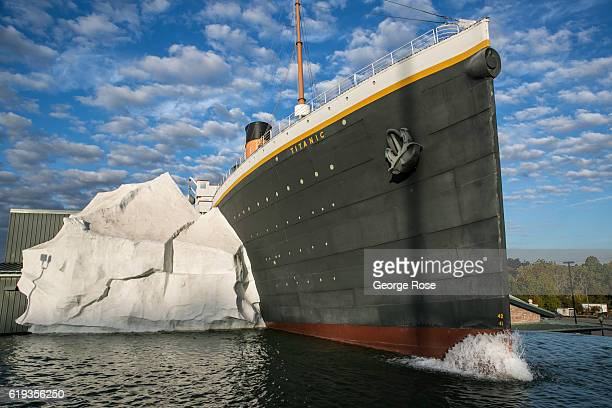 Half-scale replica of the Titanic hitting an iceberg is a main feature of the Titanic Museum as viewed on October 18, 2016 in Pigeon Forge,...