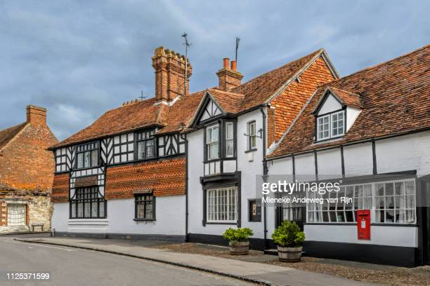 half-timbered architecture with old post office, dorchester-on-thames, oxfordshire, england, united kingdom - english culture stock pictures, royalty-free photos & images