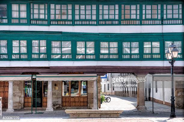 Half-Timbered Buildings in the Main Square of Almagro (Castile-La Mancha, Spain)