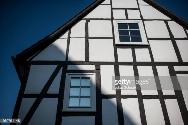 A halftimbered house stands in the town center on February 21 2018 in Wolfshagen Germany Wolfshagen has become a model for successful energy policy...