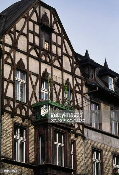 Halftimbered house traditional architecture Gliwice Poland