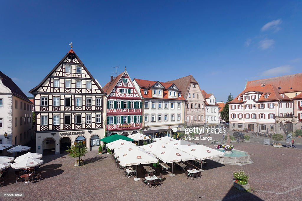 Halftimbered Houses At Market Square Bad Mergentheim
