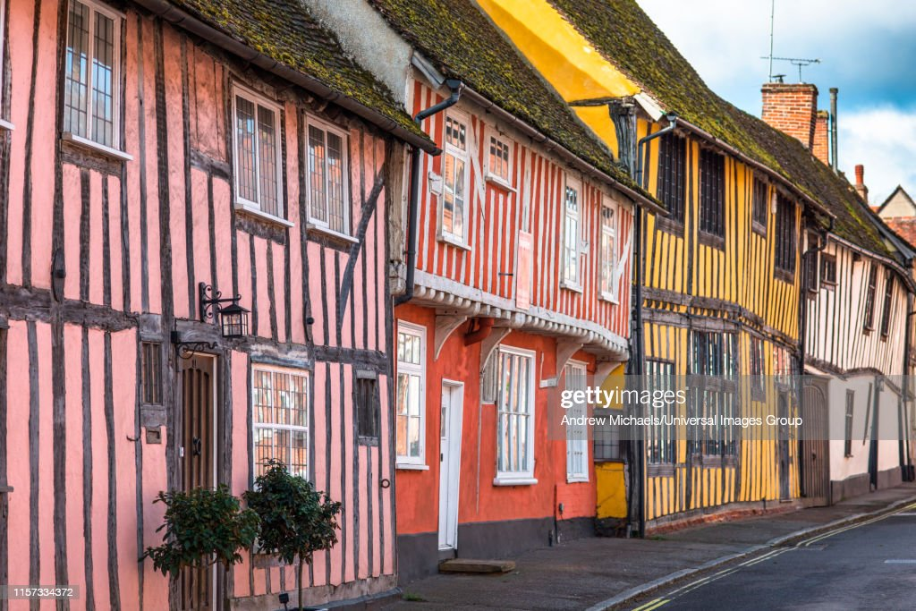 Half-timbered medieval cottages, Water Street, Lavenham, Suffolk, England, United Kingdom : Stock Photo