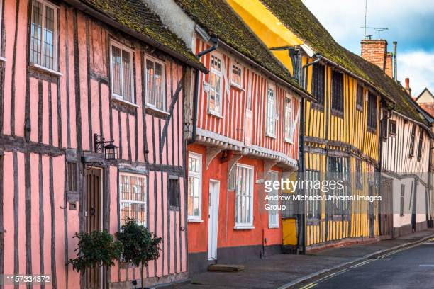half-timbered medieval cottages, water street, lavenham, suffolk, england, united kingdom - lavenham fotografías e imágenes de stock