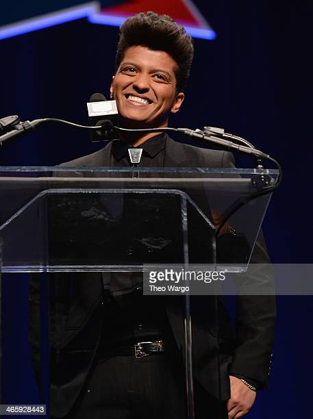 Halftime performer Bruno Mars speaks at the Pepsi Super Bowl XLVIII Halftime Show Press Conference at Rose Theater Jazz at Lincoln Center on January...