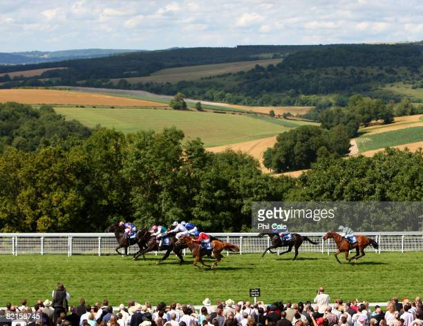 Halfway To Heaven ridden by Johnny Murtagh leads to win the Blue Square Nassau Stakes run at Goodwood Racecourse on August 2 in Goodwood England...