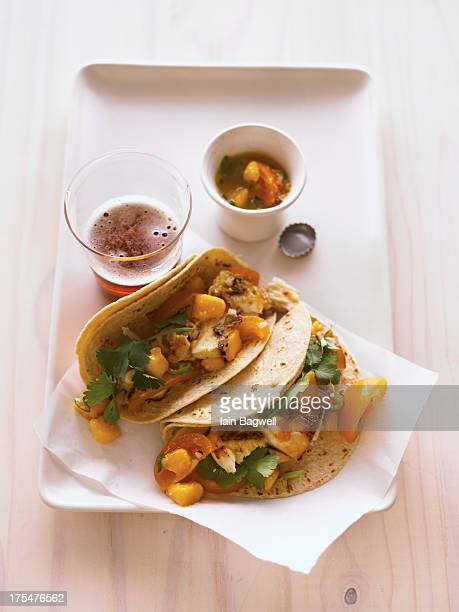 halibut tacos with fire & yellow tomato salsa