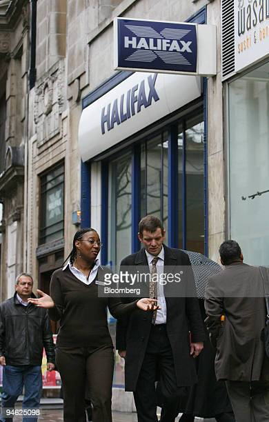Halifax Bank employees talk as they pass by a branch of the Halifax Bank part of the HBOS Plc group in London Tuesday Feb 27 2007 Stocks in Europe...
