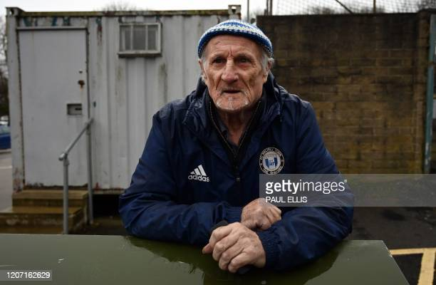 Halifax Town supporter Dennis Farrell arrives to watch the national league football match Halifax Town versus Ebbsfleet United at the Shay stadium in...