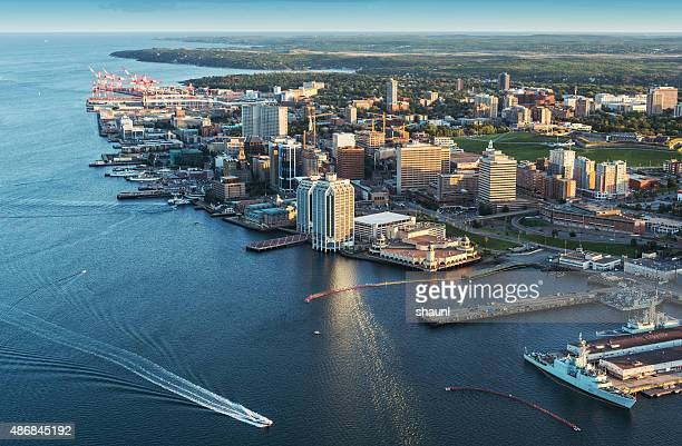 halifax  waterfront aerial view - atlantic ocean stock pictures, royalty-free photos & images