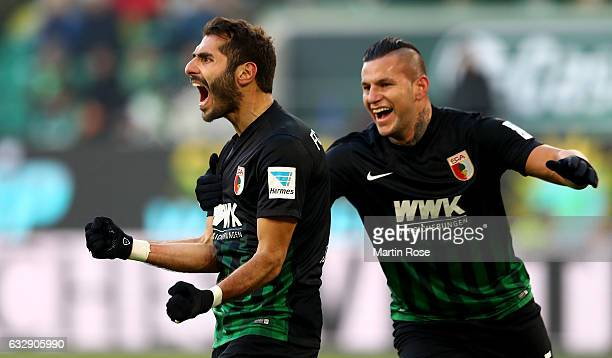 Halil Altintop of Augsburg celebrates after he scores the equalizing goal during the Bundesliga match between VfL Wolfsburg and FC Augsburg at...