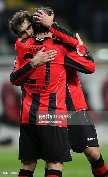 Halil Altintop of Frankfurt celebrates the fifth goal with Theofanis Gekas during the DFB Cup match between Eintracht Frankfurt and Hamburger SV at...