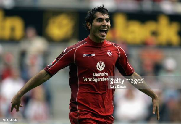 Halil Altintop of Kaiserslautern celebrates scoring the second goal during the Bundesliga match between 1FC Cologne and 1FC Kaiserslautern at the...