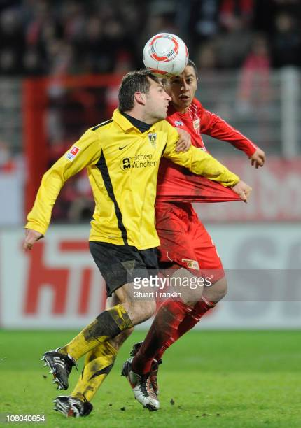 Halil Savran of Berlin is challenged by Thomas Stehle of Aachen during the Second Bundesliga match between Union Berlin and Alemannia Aachen at Alte...