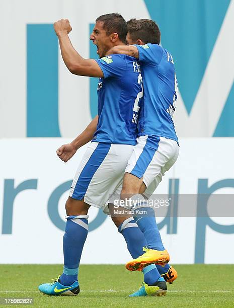 Halil Savran of Rostock jubilates after scoring the first goal during the third league match between FC Hansa Rostock and VFB Stuttgart II at DKB...