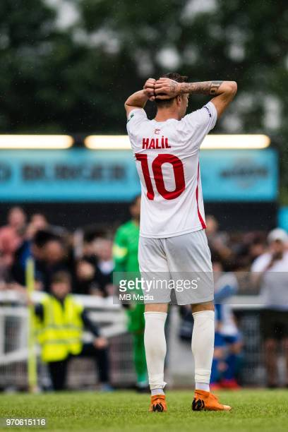 Halil Turan of Northern Cyprus after missing penalty during the CONIFA World Football Cup 2018 Final match between Northern Cyprus and Karpatalya at...