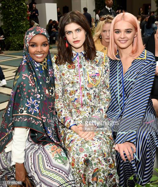 Halima Aden Alexandra Daddario and Charlotte Lawrence attend Tory Burch NYFW SS20 at the Brooklyn Museum on September 08 2019 in Brooklyn City