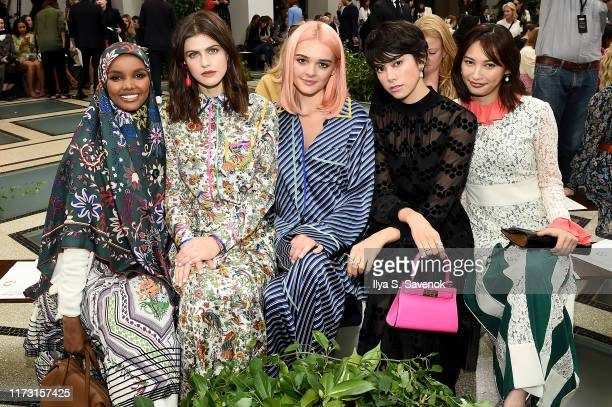 Halima Aden Alexandra Daddario Charlotte Lawrence Hikari Mori and Aya Omasa attend Tory Burch NYFW SS20 at the Brooklyn Museum on September 08 2019...