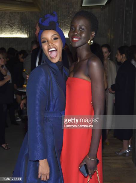 Halima Aden and Adut Akech attend the #BoF500 gala dinner during New York Fashion Week Spring/Summer 2019 at 1 Hotel Brooklyn Bridge on September 9...