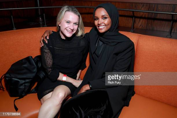 "Halima Aden and guest attend the after party for the premiere of Netflix's ""Travis Scott: Look Mom I Can Fly"" on August 27, 2019 in Santa Monica,..."
