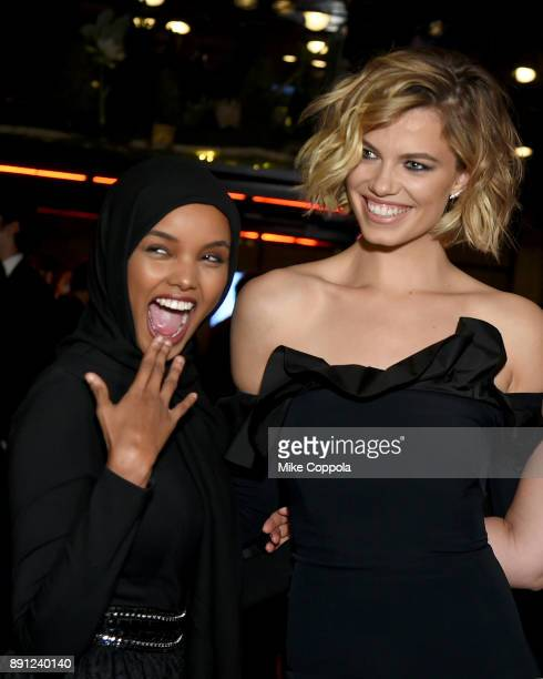 Halima Aden and Hailey Clauson attend the CR Fashion Book Celebrating launch of CR Girls 2018 with Technogym at Spring Place on December 12 2017 in...