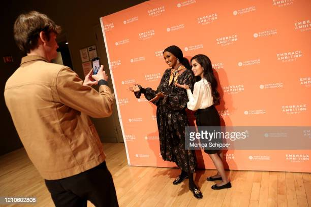 Halima Aden and Sakina Hudda attend the 2020 Embrace Ambition Summit by the Tory Burch Foundation at Jazz at Lincoln Center on March 05 2020 in New...