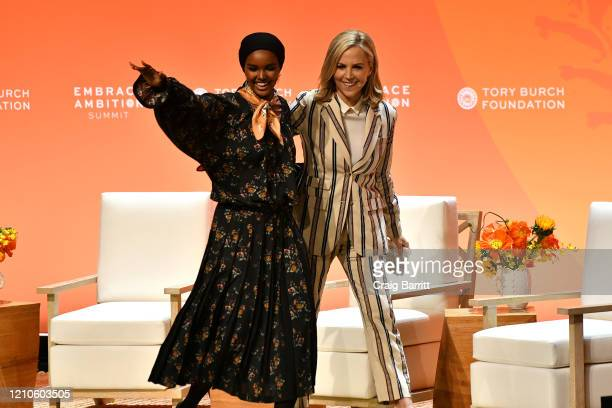 Halima Aden and Tory Burch speak onstage during the 2020 Embrace Ambition Summit by the Tory Burch Foundation at Jazz at Lincoln Center on March 05...