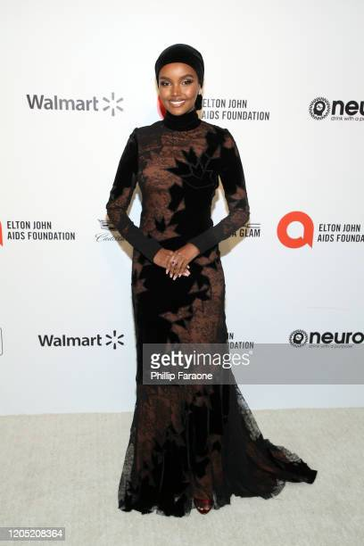Halima Aden attends the 28th Annual Elton John AIDS Foundation Academy Awards Viewing Party Sponsored By IMDb, Neuro Drinks And Walmart on February...