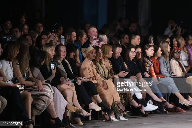 Halima Aden attends the Carla Zampatti show at Mercedes-Benz Fashion Week Resort 20 Collections at Carriageworks on May 16, 2019 in Sydney, Australia.