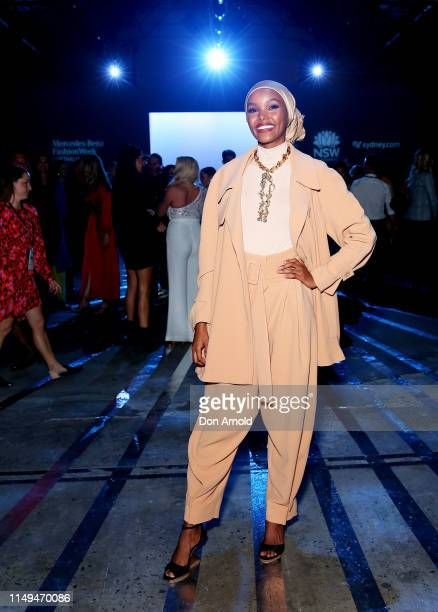 Halima Aden attends the Carla Zampatti show at MercedesBenz Fashion Week Resort 20 Collections at Carriageworks on May 16 2019 in Sydney Australia