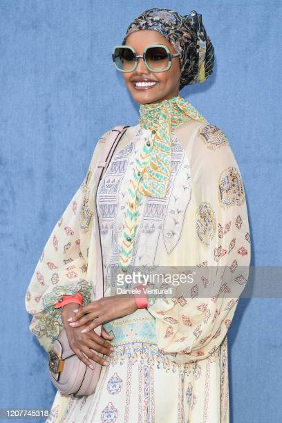 Halima Aden attends the Etro fashion show on February 21 2020 in Milan Italy