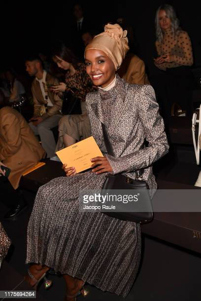 Halima Aden attends the Fendi fashion show during the Milan Fashion Week Spring/Summer 2020 on September 19 2019 in Milan Italy