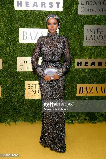 Halima Aden attends the Lincoln Center Corporate Fashion Gala honoring Leonard A Lauder at Alice Tully Hall on November 18 2019 in New York City