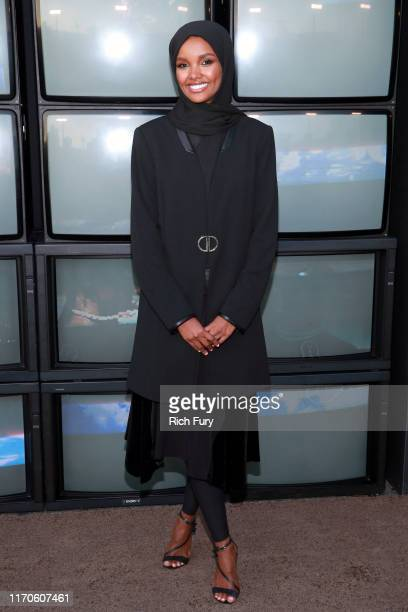 "Halima Aden attends the premiere of Netflix's ""Travis Scott: Look Mom I Can Fly"" at Barker Hangar on August 27, 2019 in Santa Monica, California."