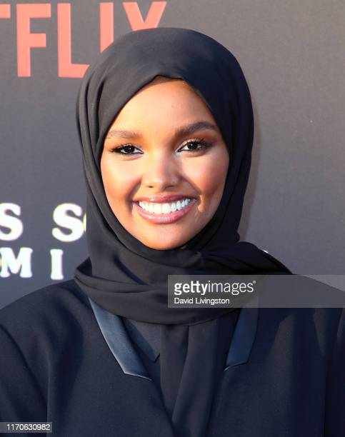Halima Aden attends the premiere of Netflix's Travis Scott Look Mom I Can Fly at Barker Hangar on August 27 2019 in Santa Monica California