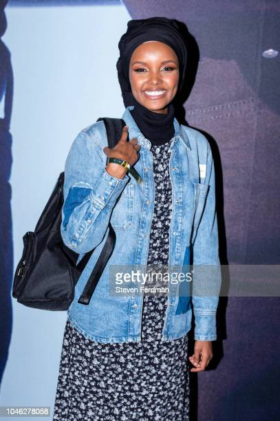 Halima Aden backstage during a surprise performance for Calvin Klein Jeans X Amazon Fashion Launch NYC Market at Flatiron Plaza on October 5 2018 in...