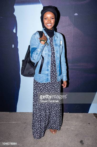 Halima Aden backstage during A$AP Rocky's surprise performance for Calvin Klein Jeans X Amazon Fashion Launch NYC Market at Flatiron Plaza on October...