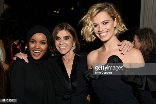 Halima Aden Carine Roitfeld and Hailey Clauson attend the CR Fashion Book Celebrating launch of CR Girls 2018 with Technogym at Spring Place on...
