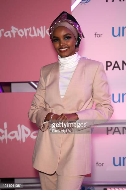 Halima Aden celebrates International Women's Day with Pandora at the Charms for Change event at Exhibition London on March 07 2020 in London England