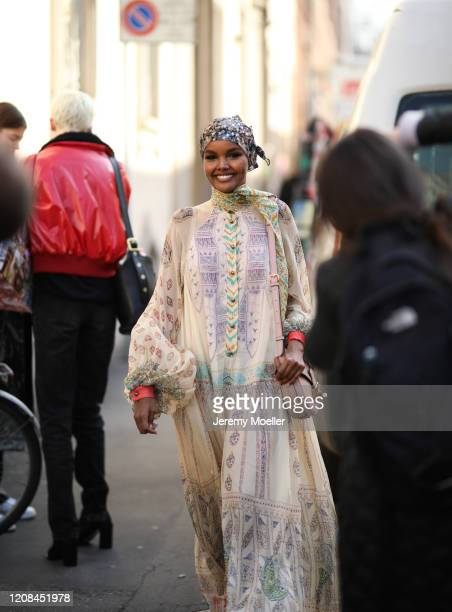 Halima Aden is seen before Etro during Milan Fashion Week Fall/Winter 20202021 on February 21 2020 in Milan Italy