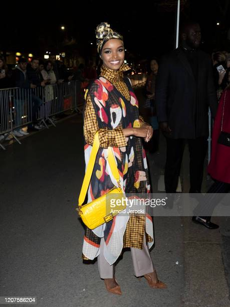 Halima Aden is seen during Milan Fashion Week Fall/Winter 20202021 on February 20 2020 in Milan Italy