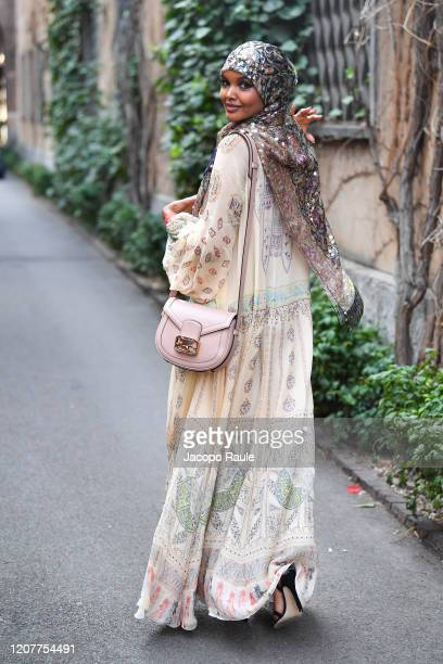 Halima Aden is seen leaving the Etro fashion show on February 21 2020 in Milan Italy