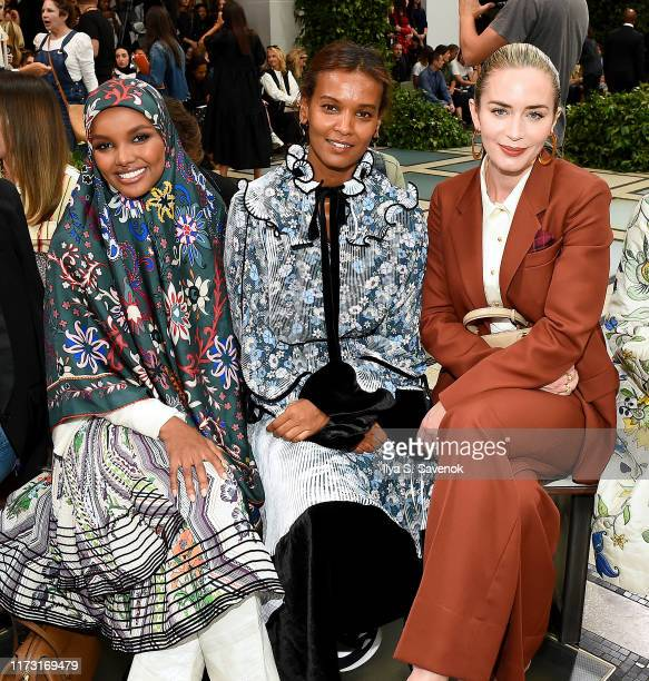 Halima Aden, Liya Kebede, and Emily Blunt attend Tory Burch NYFW SS20 at the Brooklyn Museum on September 08, 2019 in Brooklyn City.