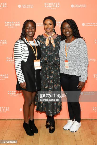 Halima Aden meets with guests during the 2020 Embrace Ambition Summit by the Tory Burch Foundation at Jazz at Lincoln Center on March 05 2020 in New...