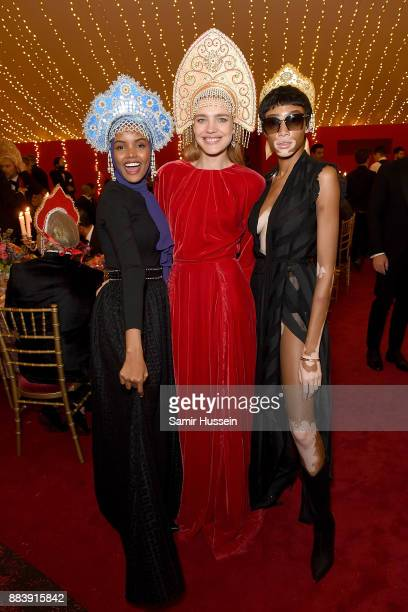 Halima Aden Natalia Vodianova and Winnie Harlow attend the gala dinner during #BoFVOICES on December 1 2017 in Oxfordshire England