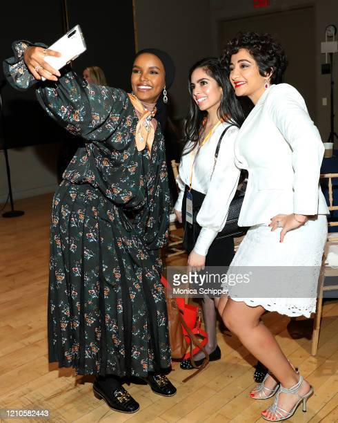 Halima Aden Sakina Hudda and Mia Parton attend the 2020 Embrace Ambition Summit by the Tory Burch Foundation at Jazz at Lincoln Center on March 05...