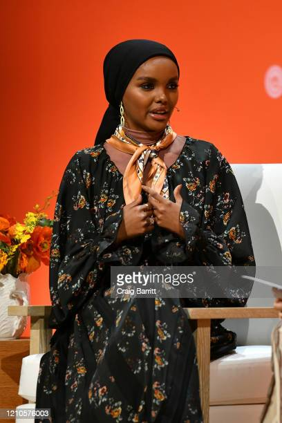 Halima Aden speaks onstage during the 2020 Embrace Ambition Summit by the Tory Burch Foundation at Jazz at Lincoln Center on March 05 2020 in New...